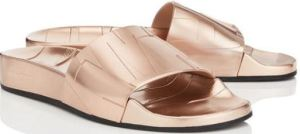 Rey/F in Metallic Rose Gold by Jimmy Choo, A Truly Hot Looking Rubber Slide For Garden Tours, The Zoo, or The Beach