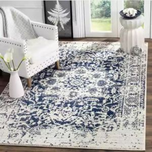 An 8x10 rug under 160 Dollars, in uber-popular blue and white color scheme, Safavieh Madison Rug on Overstock.Com
