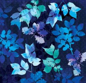 Batik style watercolor leaf mural design in serene blues for a serene tropical bedroom. MuralsYourWay.Com