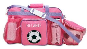 "Solve the ""how to carry the ball?"" hassle with this clever sports bag. Not into soccer? Make a project out of covering the graphic with fabric paint, applique, or some bling. Personalize it if you want...""ShoppingGirl"" is exactly 12 letters.... LillianVernon.com."