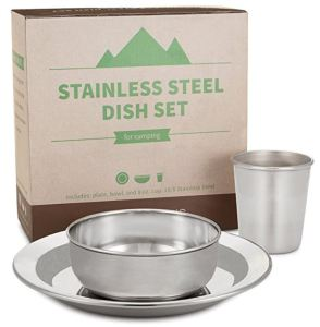 HumanCentric compact stainless steel dining set includes 8.5-inch plate, 5-inch bowl, and 8-ounce cup.