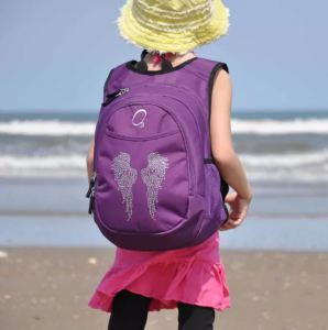 Obersee Backpack with Rhinestone Angel Wings. Front pocket is insulated to keep drinks or lunch cold. Overstock.com.