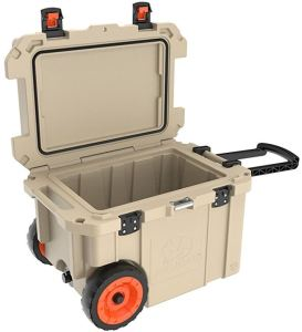 Pelican Elite 45 Quart Cooler retains ice for up to 10 days. A popular, sturdy, reliable brand that makes products for the military, so you know they're tough.