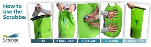 The Scrubba is a lightweight washing bag that folds down tiny. Inside are nodules that help clean your laundry by hand. Also works as a dry bag.