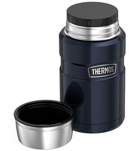 Thermos Stainless King 24-oz food jar includes a lid you can use as a bowl, and an inner sealing lid.