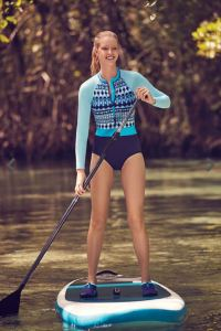 Land's End offerings are always highly rated and incredibly popular. They are a reliable company that has been around for a long time because they pay attention to the realistic needs of Shoppinggirls of all sizes. This all-in-one suit with a zipped rashguard top in a pretty but still sporty design features Sun protective fabric with a UPF rating of 50+. landsend.com.