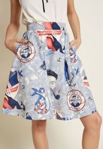 Nautical done right, with tattoo-ish, colorful baleen whales and mermaids adorned in heart pasties. Lively Vibe by Retrolicious, available at modcloth.com.