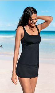 With adjustable straps, an underwire bra, and UPF 50+ fabric, this cute and practical Square Neck Tankini works for swimming and pretty much everything else. Comes in Deep Sea, Black, and Sierra Bisque (otherwise known as a pink coral). landsend.com.