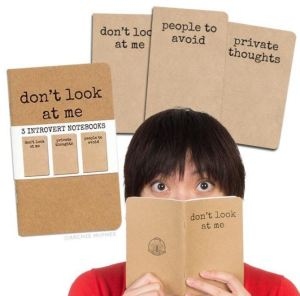 Being an Introvert has always been The Real Cool, but it's getting extra cultural love right now. Go with not going with it by making your position clear with this set of three Introvert Notebooks. Each has a pointed, and usefully deterrent, motto on the cover. Mcphee.com.