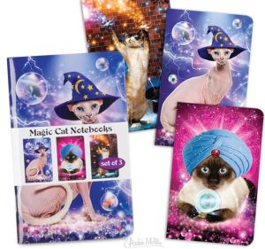 These may also work for Introverts. Archie McPhee Magic Cat Notebook set includes three, covered in images with a sort of Galactic Zoltar theme. With cats. I like cats, but these even weird me out a little. Keep cat grouches at arm's-length or further, and cat fans enchanted, while you ponder the metaphysical mysteries of Plato's cave. You know that those shadows were made by cats....