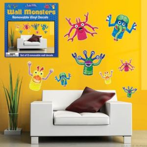 Decorate your kid's study area with this set of Wall Monster Decals. Made of vinyl, nicely sized, colorful and silly, they are an easy, fast, and removable way to liven up an otherwise dull homework station. Mcphee.com.