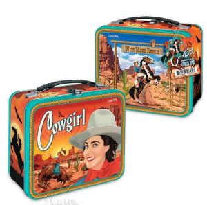 A cowgirl can match her notebooks, too. Carry yer vittles in this Cowgirl Lunchbox. Has a latch to keep rattlesnakes out, although it's unlikely to be entirely varmint-proof. Mcphee.com.