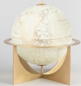 ShoppingGirls who want a globe, but find the standard blue models a bit too academic looking, may like this glossy white and golden model. Featuring a pretty comprehensive assortment of place names, the globe spins within a 20th Midcentury design framework. It, too, will also work as a bookend. Worldmarket.com.