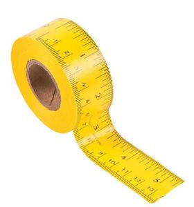 Accurate Ruler Tape, with U.S. standard and Metric markings, is plasticized for flexibility. Tape a ruler into your binder, onto your pencil, or along your desk. For that matter, add it to your tackle box, tool box, kitchen, sewing room, or art studio. Sold at Oriental Trading.