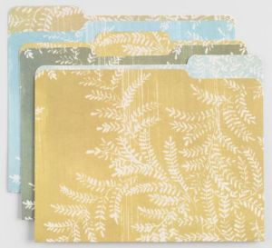 Serene Yellowstone File Folders in a set of 6. The soft, fern-print images with color-coordinated interiors have a natural, calming vibe. Worldmarket.com.