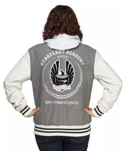 Another great low-key and practical costume choice is the Star Fleet Academy Varsity Jacket. Excellent graphics front and back give it a realistic look. I'm pretty sure they'll still be wearing denim jeans in the future. The look doesn't need anything else, but you could add some Vulcan ears as an extra touch. thinkgeek.com.