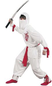 If Godzilla makes an appearance, a ninja may be required. Deadlier than the black robed assassins, the Boy's Deluxe White Ninja Costume is also much more visible at night for safe Trick-or-Treating prowls. orientaltrading.com.
