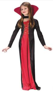 Fun Girl's Victorian Vampiress Costume has Hollywood B Movie vibes galore. The whole family can go as the cast of your fav classic scary film. orientaltrading.com.