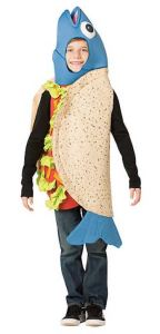 Dress up as everyone's favorite coastal snack in this Boy's Fish Taco Costume. Surfer dads need not be bummed, it also comes in Adult sizes. A bottle of Cholula on a string around your neck would be a nice finishing touch. orientaltrading.com.