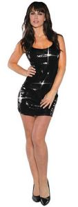 Catch the lurid light in this multi-functional foundation for all kinds of costume looks. Womens Black Short Sequin Dress. orientaltrading.com.