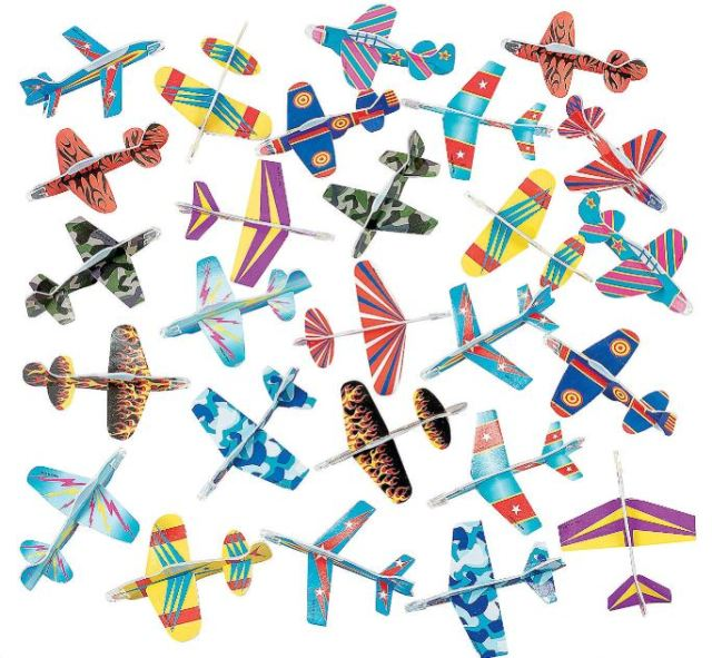 Flying toy airplanes just never seems to grow old. These are a great Halloween handout that is affordable. The Bulk Glider Assortment has 72 colorful foam planes for only $12.99. That should leave extras you can take to work. orientaltrading.com.