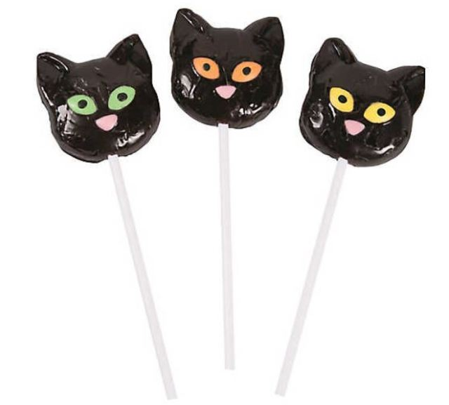 Another popular favorite, these Black Cat Lollipops are mixed-fruit flavored, and come in a set of 12. orientaltrading.com
