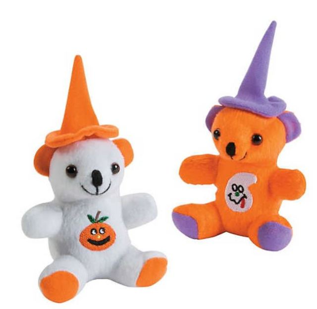 """Stuffed Halloween Bears feature cute little icon """"tattoos"""" on their bellies, and pointy wizard hats affixed to their heads. Highly rated and popular with kids of all ages, making them excellent for Trick-or-Treat handouts, party favors, or desk companions. Just under $20.00 per dozen at orientaltrading.com."""