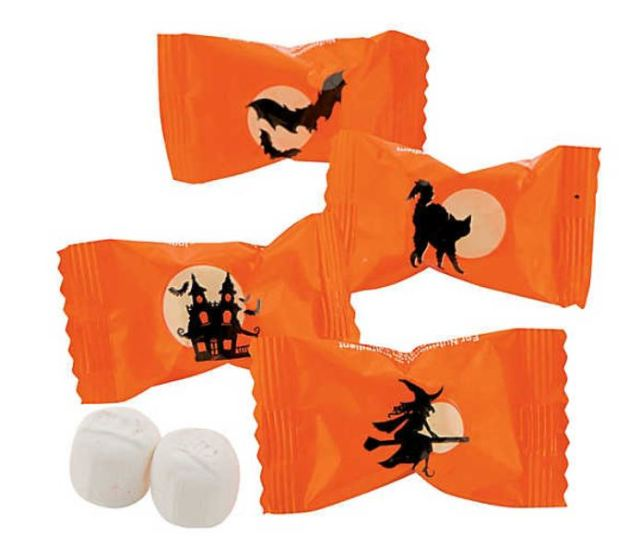 These Silhouette Halloween Party Buttermint packets feature great traditional graphics. With two tasty mints inside each packet, you can freshen your breath after consuming that deadly, but vampire-repulsing, garlic bruschetta. A must-have for parties, treat bags, and handing out to the kids, you'll have plenty with 108 packs per set. orientaltrading.com