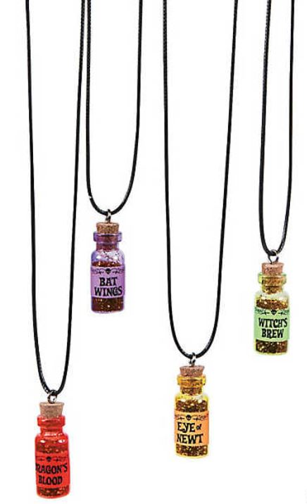 Most Trick-or-Treaters are probably fans of wizardy literature of one type or another. Halloween Potion Necklaces feature glitter-filled mini-bottles labeled so that the neophytes don't confuse their Bat Wings with their Eyes of Newt. Each comes with a cord that has a plastic safety break-apart clasp. Remove the bottle to use as a display item. $8.99 for a dozen at orientaltrading.com. Be warned, the corks are removable, which could release glitter all over someone's furnishings. That could be a good thing or a bad thing. If you like your neighbors, glue those stoppers in place. If your neighbors are rude jerks, let the glitter fly where it will in their homes. It's Trick, not just Treat, remember....