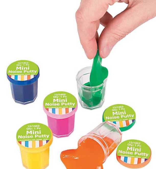 Mini Noise Putty makes a noise that kids find hilarious. Yes, that noise. Get 48 little tubs to hand out for under $8.00 from orientaltrading.com.
