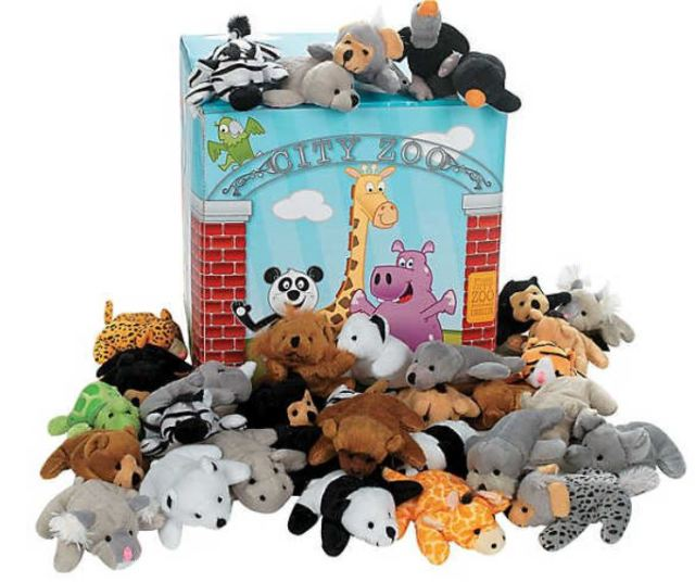 Orientaltrading.com carries a nice variety of little stuffed critter sets that would make very cool carnival prizes or handouts for your Trick-or-Treaters. Now for sale for under $40.00, this Mini Zoo Stuffed Animal Assortment comes in a themed box with 50 cuddly creatures like leopards, zebras, giraffes, and even some less expected friends like hyenas and vultures. Hey, it is Halloween after all....