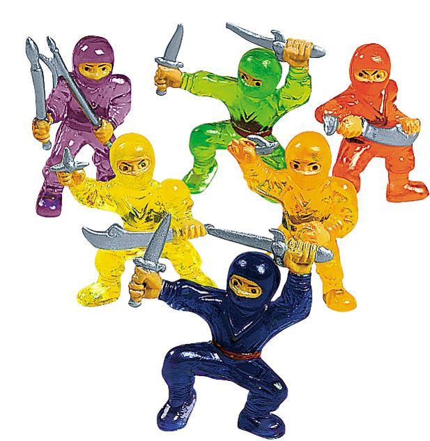 Audacious in assorted bright tropical colors, these Mini Ninja Warriors are so bujutsu, they don't need to bother with stealthy hued attire. Set of 48 available at orientaltrading.com.