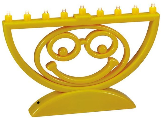 LED Menoji. https://www.traditionsjewishgifts.com/yellow-menoji-battery-operated-menorah-RLJRN500Y.html