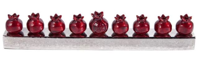 Red Metal Pomegranate Menorah. https://www.traditionsjewishgifts.com/red-metal-pomegranates-menorah-ATEMHK4.html