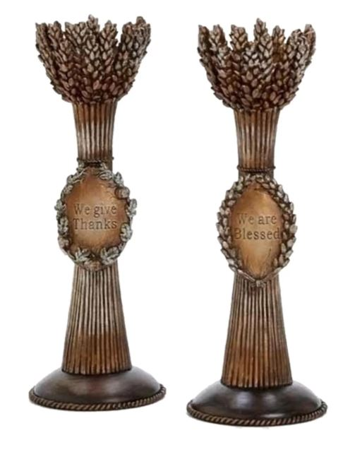 Pair of Harvest themed candle holders bear mottos of gratitude. Wheat Votive Candleholders in Brown. overstock.com