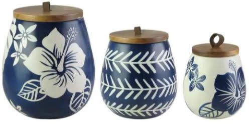 Floral Blue and White Canister Set at Overstock.com