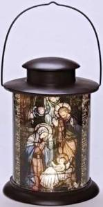 This lighted Nativity scene is safe to hang anywhere, because it uses LED lights and batteries, rather than a real candle. The stained-glass effect is rich and beautiful. Battery Operated LED Lighted Nativity Lantern. Overstock.com