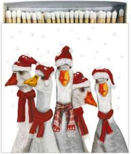 These geese are wondering who to inform about them being mislabeled as Ducks With Santa Hats Decorative Matchbox. Museumoutletscom