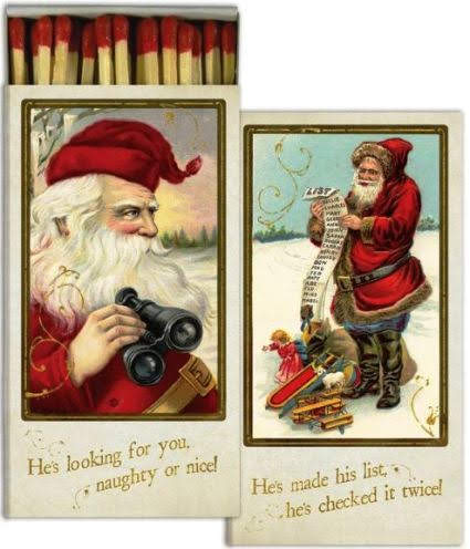 Now we know how Santa monitors our naughty/nice percentages throughout the year. He uses binoculars. Light your candles, or trigger a bit of paranoia in those that misbehave, with this Victorian styled Santa matchbox. Museumoutlets.com