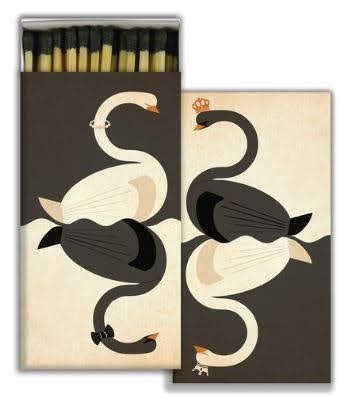 Elegant and sweet, in a classy black and ivory color scheme for your sleek, contemporary Christmas scene. Note the tiny details: On one panel, each swan wears a different style of crown; on the other, the white swan wears a sparkling necklace, the black swan a dashing bow tie. This matchbox would be great for your New Year's Eve gala candlescape too. Swans Decorative Boxed Matches. Museumoutletscom