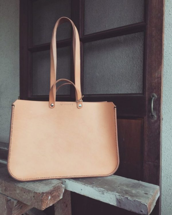 structured leather tote
