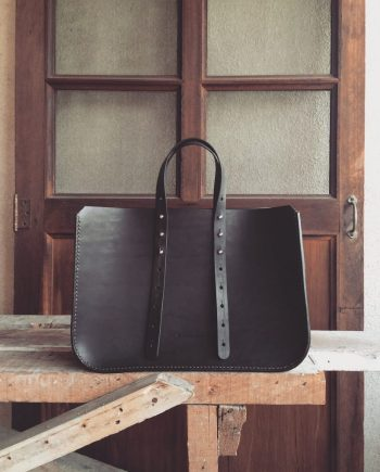structured leather work tote
