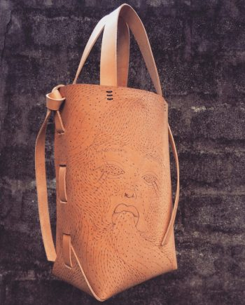 illustrated leather tote