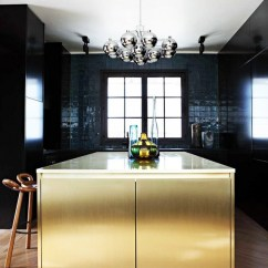 Metal Kitchen Cabinet Ikea Faucet What S Hot 8 Beautiful Gold Brass And Hammered Kitchens Contemporary Backsplash Black Modern