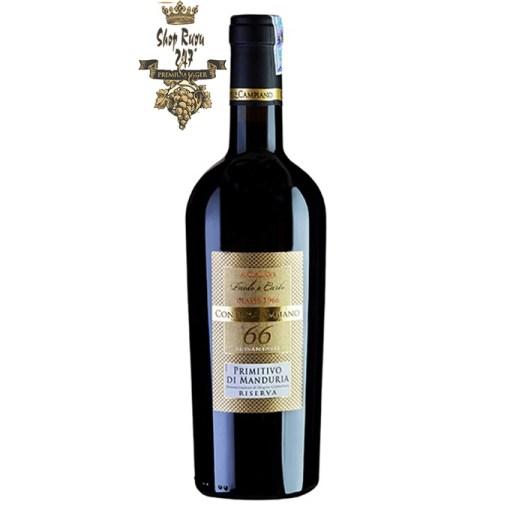 Rượu Vang Đỏ 66 Paolo E Carlo Primitivo Di Manduria Riserva có mầu đỏ ruby đậm. Hương thơm tinh tế của mùi mận chín, mứt, anh đào