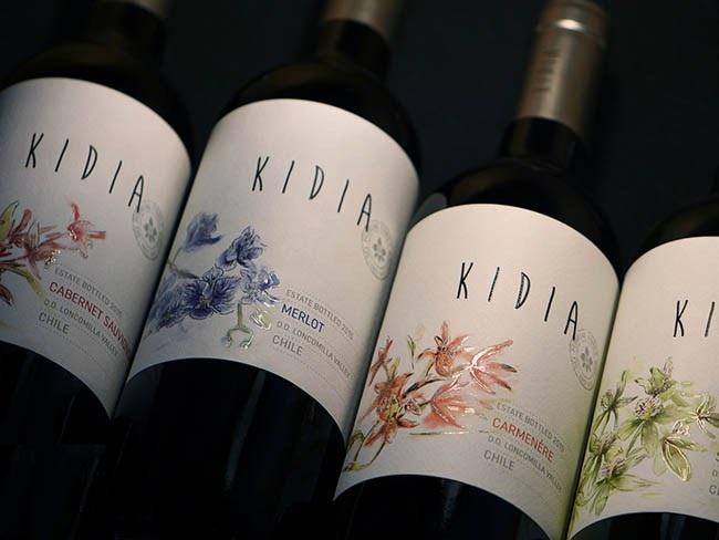 Cận cảnh nhãn chai Kidia Cabernet Sauvignon