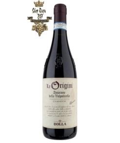 Rượu Vang Đỏ Bolla Le Origini Amarone Riserva 2010 có mầu đỏ hồng hào mãnh liệt. Hương thơm phức tạp và ngọt ngào với gợi ý