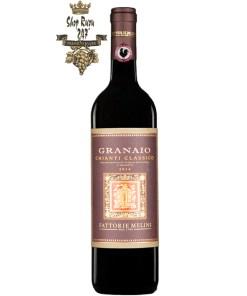 Rượu Vang Đỏ Melini Chianti Classico Granaio có mầu đỏ ruby mạnh mẽ. Hương thơm mạnh mẽ của quả mọng và nho chín và gợi ý của vani và hương hoa