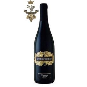 Rượu Vang Đỏ Montepulciano D Abruzzo Riserva có mầu đỏ đậm ánh tím. Hương thơm nồng nàn và phức tạp của hoa quả chín và anh đào.