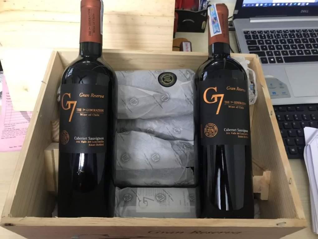 2 chai Rượu Vang Chile G7 Gran Reserva Cabernet Sauvignon (ảnh thực tế)